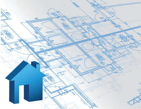 Blueprint architectural map and 3d house model illustration