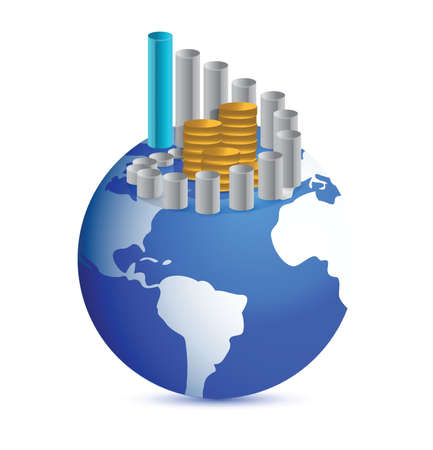 globe illustration: business graph with coins over world globe illustration