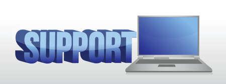 computer support: Computer supporto 3d segno testo e illustrazione laptop