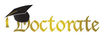 doctorate: doctorate hat graduation illustration design over white background