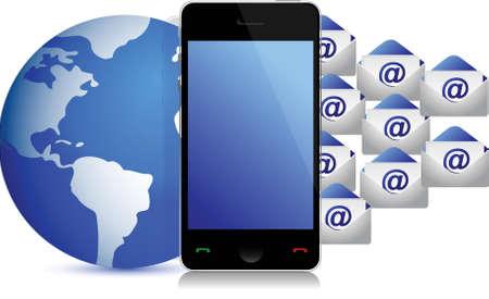 globe phone envelopes illustration design over white background