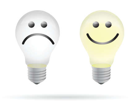 happy and bad lightbulb illustration design over white Stock Vector - 15715681