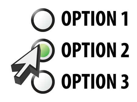 quiz test: Option 1 2 or 3 selection illustration design Illustration