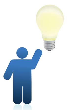 icon person an lightbulb illustration design over white Ilustração