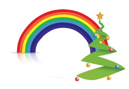 sliced tree: rainbow tree illustration design over a white background Illustration