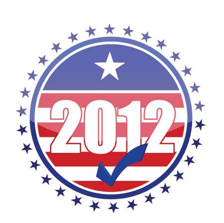 democrats: 2012 EE.UU. Bandera sello ilustraci�n dise�o sobre fondo blanco