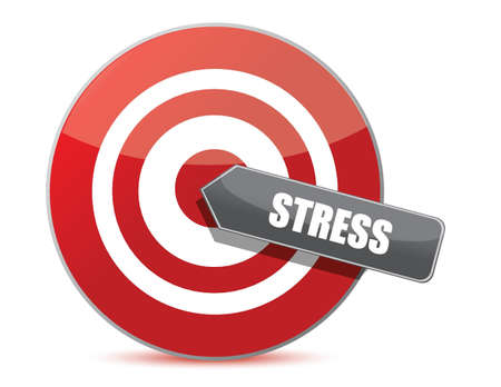 worried executive: Target stress bulls eye illustration design over white