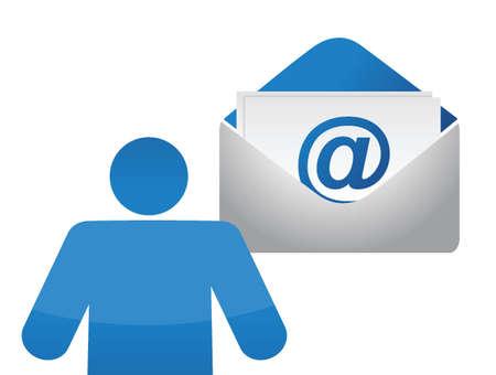 pictogram en e-mail envelop op witte achtergrond