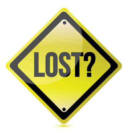seeking solution: Yellow lost sign illustration design over white