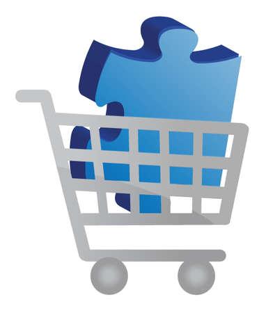 Shopping cart with a puzzle piece design illustration Banco de Imagens - 15734844