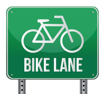 白い背景の上の自転車レーン記号イラスト デザイン