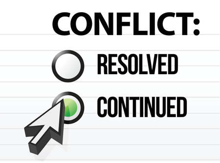 konflikt: Konflikt trwa pytanie i projekt wyboru odpowiedzi Ilustracja