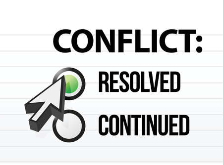 conflict opgelost vraag en antwoord selectie ontwerp Stock Illustratie