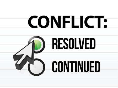 conflicto resuelto pregunta y respuesta de selección de diseño Ilustración de vector