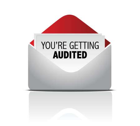 auditoría: vas a encontrar diseño ilustración auditado correo sobre blanco