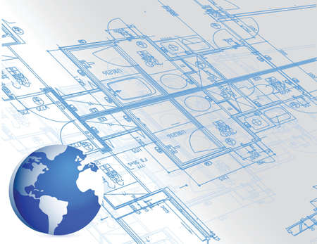 modern interior: blueprint and globe illustration design white background