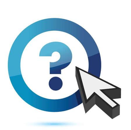 question mark symbol with cursor illustration design