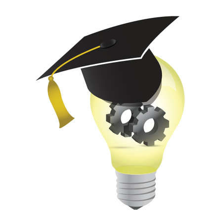 idea education gear lightbulb illustration design over white Stock Vector - 15759806