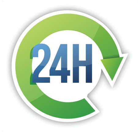 horas: ciclo de 24 horas de servicio de dise�o ilustraci�n m�s de blanco
