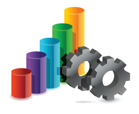 colorful graph and gear business illustration design Stock Vector - 15780822