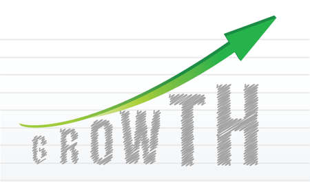 growth graph and arrow over a notepad paper illustration design Stock Vector - 15780808