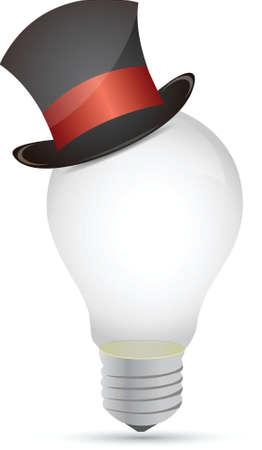 lightbulb with back hat illustration design over white Stock Vector - 15781011