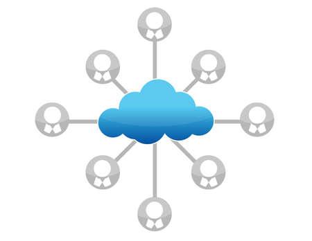 cloud computing network diagram illustration design over white