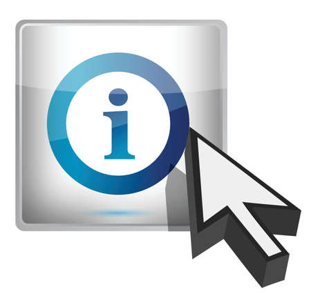 Info button with a cursor illustration design over white