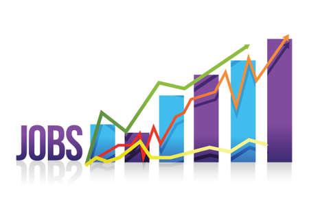 Jobs business color graph illustration design over white Ilustrace
