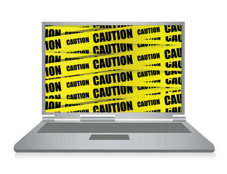 Laptop with caution illustration design over white