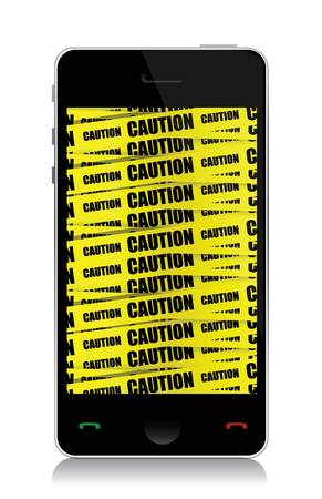 no cell: phone with caution illustration design over white