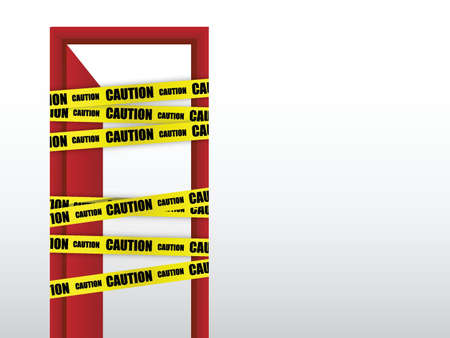barrier tape: do not enter caution with door sign design