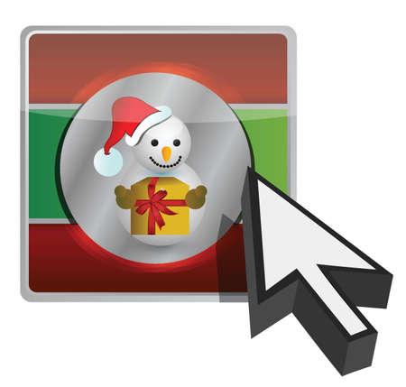 christmas online button illustration design over white background