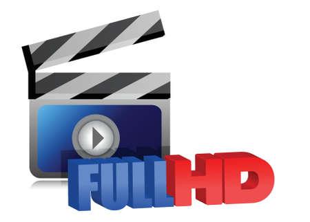 Full HD video sign illustration design over white background Stock Vector - 15808896