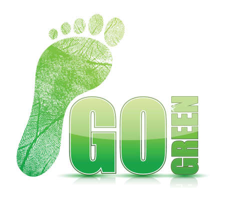 green footprint: go green footprint sign illustration design over white