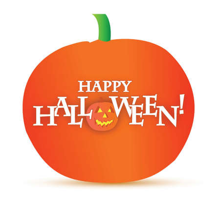 happy halloween pumpkin illustration design over white Vector