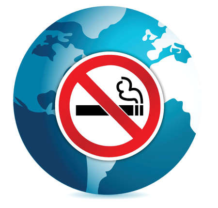 abstain: do not smoke sign illustration design over a globe design Illustration