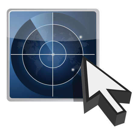 blue radar button illustration and cursor over white Vector