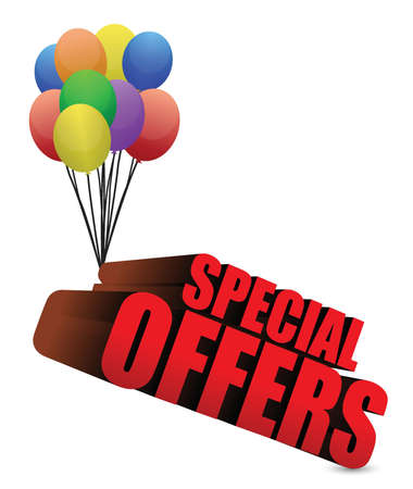 special offers 3d sign with colorful balloons illustration Иллюстрация