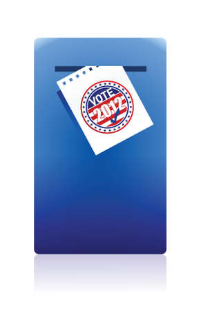 2012 voting paper in a blue ballot box illustration design