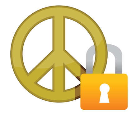 disarmament: peace sign with a padlock illustration design