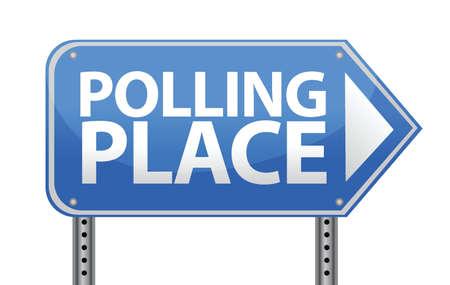 polling: Polling place sign illustration design over white Illustration