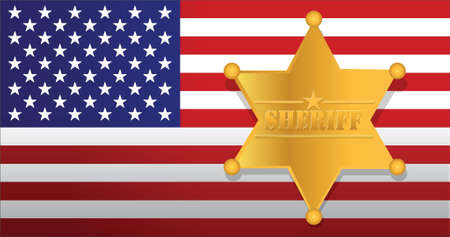 deputy sheriff: Sheriff star and us flag illustration design