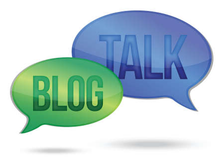 discussion forum: talking and blogging messages illustration design over white Illustration