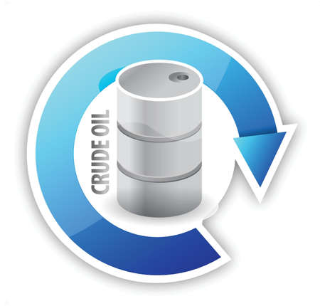 prijs van ruwe olie cycli illustratie ontwerp over wit