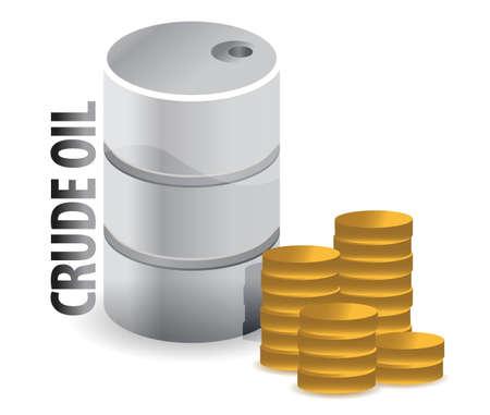 неочищенный: сырой нефти и монеты дизайн иллюстрации валюты над белым