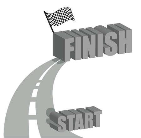 curve ahead sign: Start to finish road illustration design over white Illustration