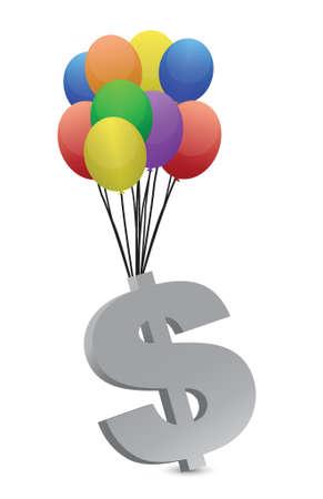 geld weg te vliegen illustratie ontwerp op een witte achtergrond