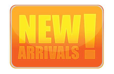 arrivals: New arrivals orange sign illustration design over white