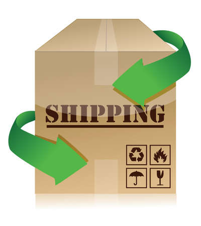 Shipping box with green arrows illustration design over white Stock Vector - 15829629